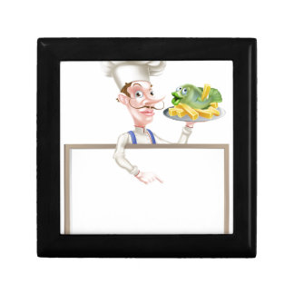 Chef Holding Fish and Chips Pointing at Sign Gift Box