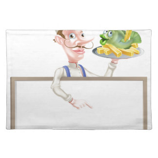 Chef Holding Fish and Chips Pointing at Sign Placemat