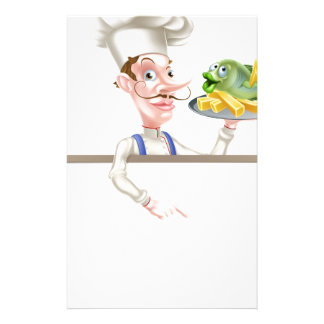 Chef Holding Fish and Chips Pointing at Sign Stationery