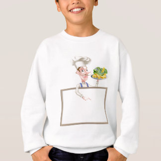 Chef Holding Fish and Chips Pointing at Sign Sweatshirt