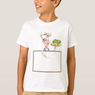 Chef Holding Fish and Chips Pointing at Sign T-Shirt