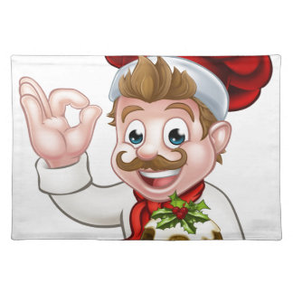 Chef in Christmas Hat Holding Pudding Placemat