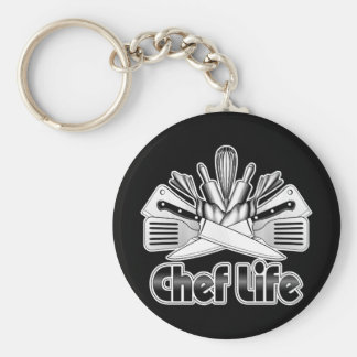 Chef Life: Kitchen Utensils Basic Round Button Key Ring