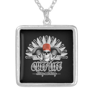Chef Life: Slicing and Dicing Square Pendant Necklace