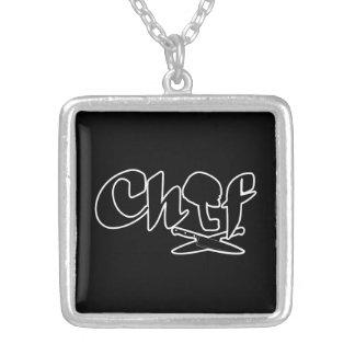 Chef Logo Square Pendant Necklace
