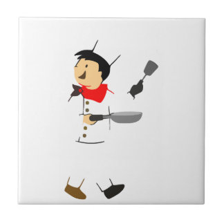 Chef of kitchen small square tile