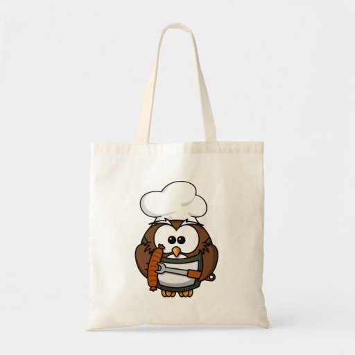 Chef Owl Ready To Barbeque Tote Bags