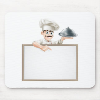 Chef pointing at sign mousemats
