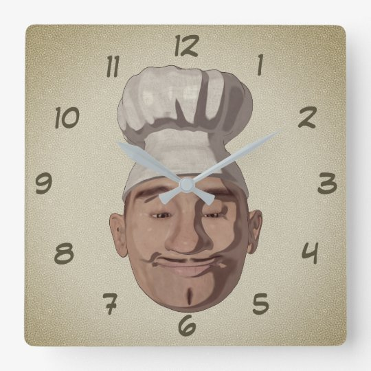 Chef Restaurant 3 Cartoon Style Square Wall Clock