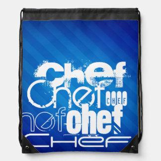 Chef; Royal Blue Stripes Drawstring Bags