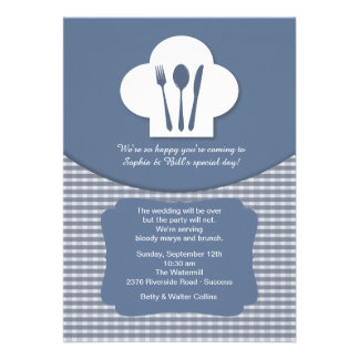 Chef s Hat Blue Post Wedding Brunch Invitation