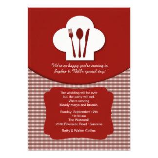 Chef s Hat Red Post Wedding Brunch Invitation
