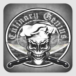 Chef Skull 1 Square Sticker
