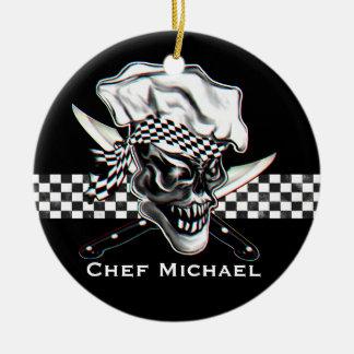 Chef Skull 5 Ceramic Ornament