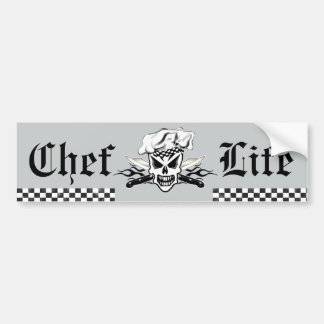 Chef Skull adn Flaming Chef Knives 2 Bumper Sticker