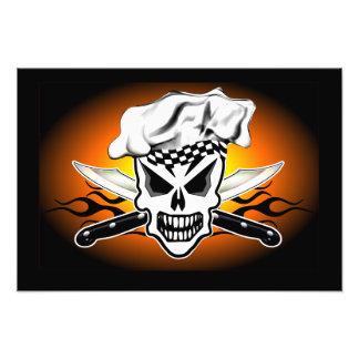 Chef Skull adn Flaming Chef Knives 2 Photo Print
