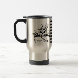 Chef Skull adn Flaming Chef Knives 2 Stainless Steel Travel Mug