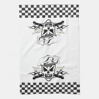 Chef Skull adn Flaming Chef Knives 2 Towel