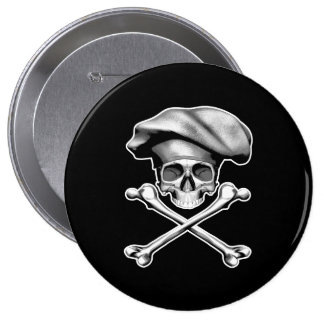 Chef Skull and Crossbones 10 Cm Round Badge