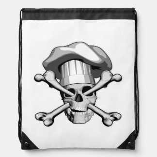 Chef Skull and Crossbones Drawstring Bags