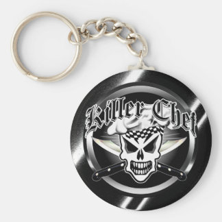 Chef Skull and Crossed Chef Knives 2 Basic Round Button Key Ring