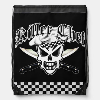 Chef Skull and Crossed Chef Knives 2 Cinch Bags