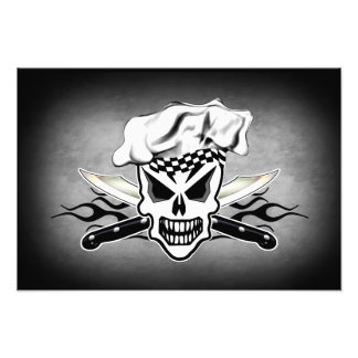 Chef Skull and Flames 2 Photographic Print