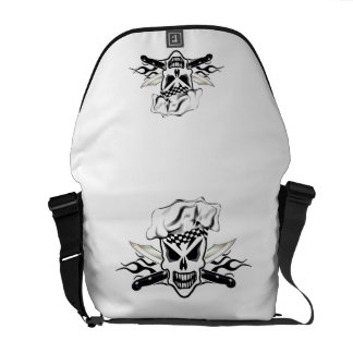 Chef Skull and Flaming Chef Knives 2 Courier Bag