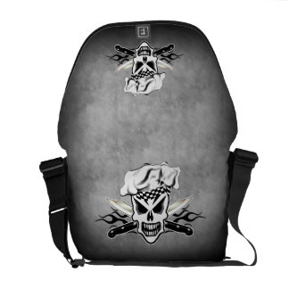 Chef Skull and Flaming Chef Knives 2 Messenger Bag