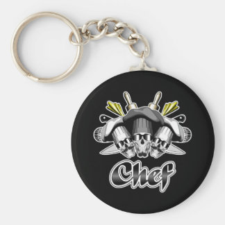 Chef Skull and Tools of the Trade Basic Round Button Key Ring