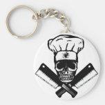 Chef Skull (B&W) Basic Round Button Key Ring