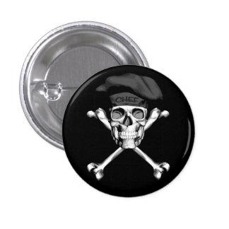 Chef Skull Crossbones: Black Pinback Button