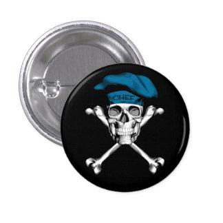 Chef Skull Crossbones: Blue 3 Cm Round Badge