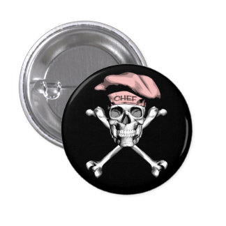 Chef Skull Crossbones: Pink 3 Cm Round Badge