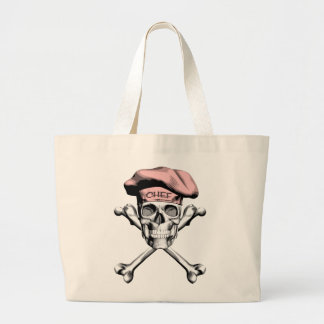 Chef Skull Crossbones Pink Jumbo Tote Bag