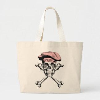 Chef Skull Crossbones Pink Tote Bag
