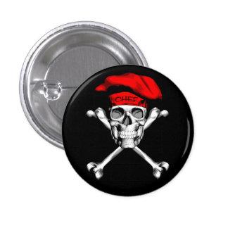 Chef Skull Crossbones: Red 3 Cm Round Badge