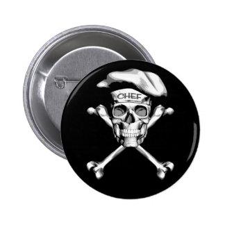 Chef Skull Crossbones: White 6 Cm Round Badge
