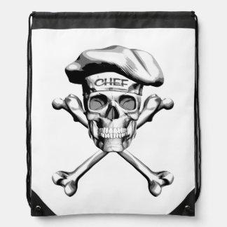Chef Skull Crossbones: White Drawstring Backpack