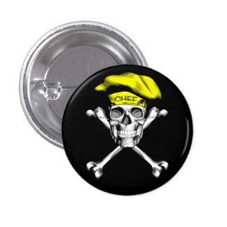 Chef Skull Crossbones: Yellow 3 Cm Round Badge
