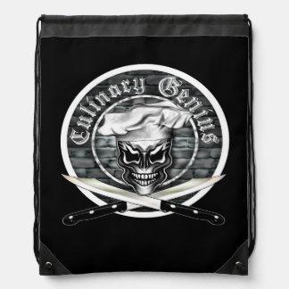 Chef Skull: Culinary Genius Drawstring Backpack