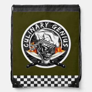 Chef Skull Custom Colored Drawstring Backpack