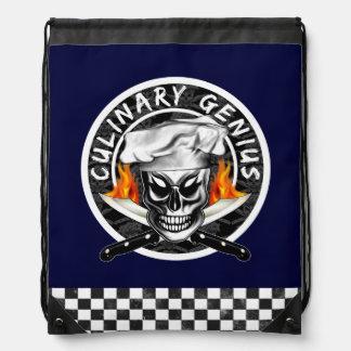 Chef Skull: Custom Colored Drawstring Backpack