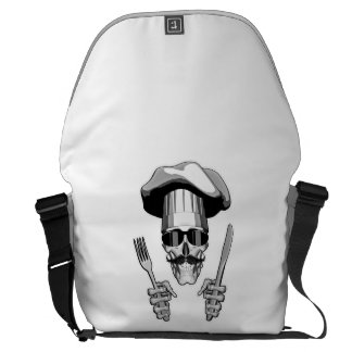 Chef Skull: Knife and Fork Courier Bags