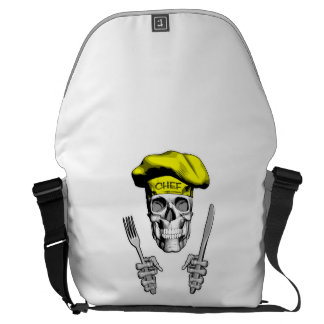 Chef Skull: Knife and Fork Messenger Bags