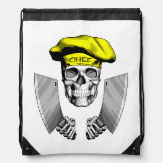 Chef Skull with Butcher Knives Drawstring Backpacks