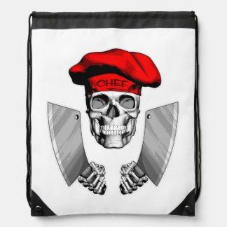 Chef Skull with Butcher Knives Drawstring Bag
