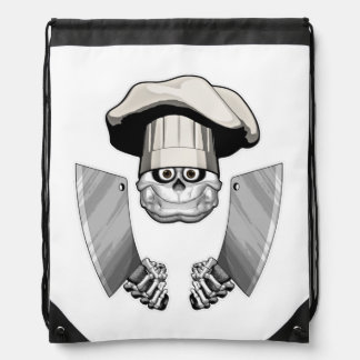 Chef Skull with Butcher Knives Drawstring Bags