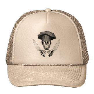 Chef Skull with Chef Knives Trucker Hat