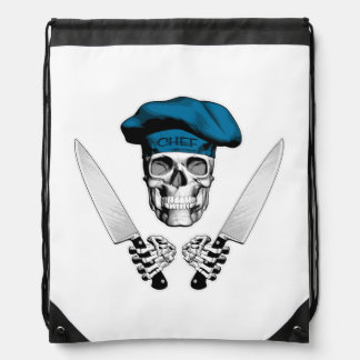 Chef Skull with Chef Knives Drawstring Backpack